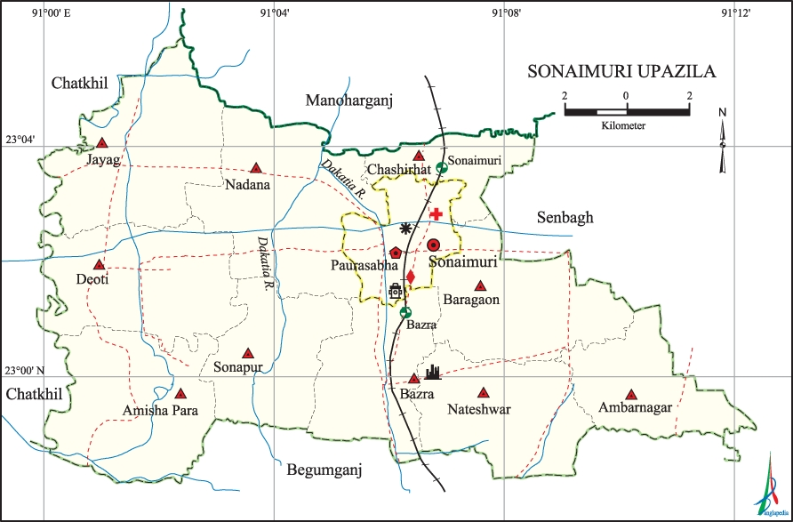 Sonaimuri Upazila Map Noakhali District Bangladesh