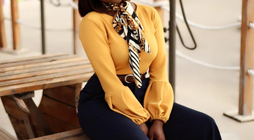 puff sleeves, exaggerated sleeves, lantern sleeves, mustard, retro scarf
