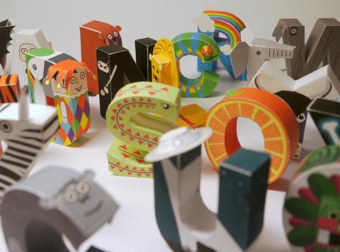 alphabet-papercraft  D Paper Letter Templates on printable box, cut out,