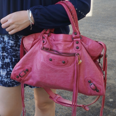 monochrome navy shorts outfit with Balenciaga RH classic city in 2010 sorbet  |  awayfromtheblue