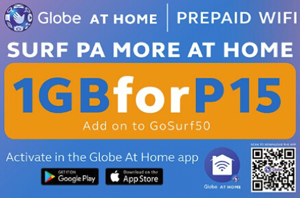 Globe HomeSURF15 – 1GB Data on top of GoSURF50 15PHP Only