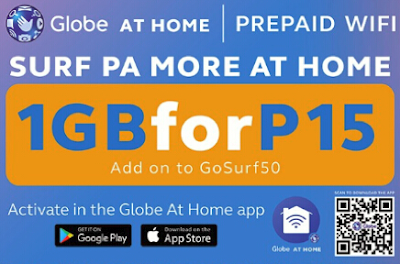 Globe HomeSURF15 – 1GB Data on top of GoSURF50 15PHP Only 2018