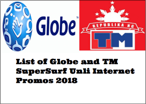 Complete List Of Globe And Tm Supersurf Unli Internet Promos 2018