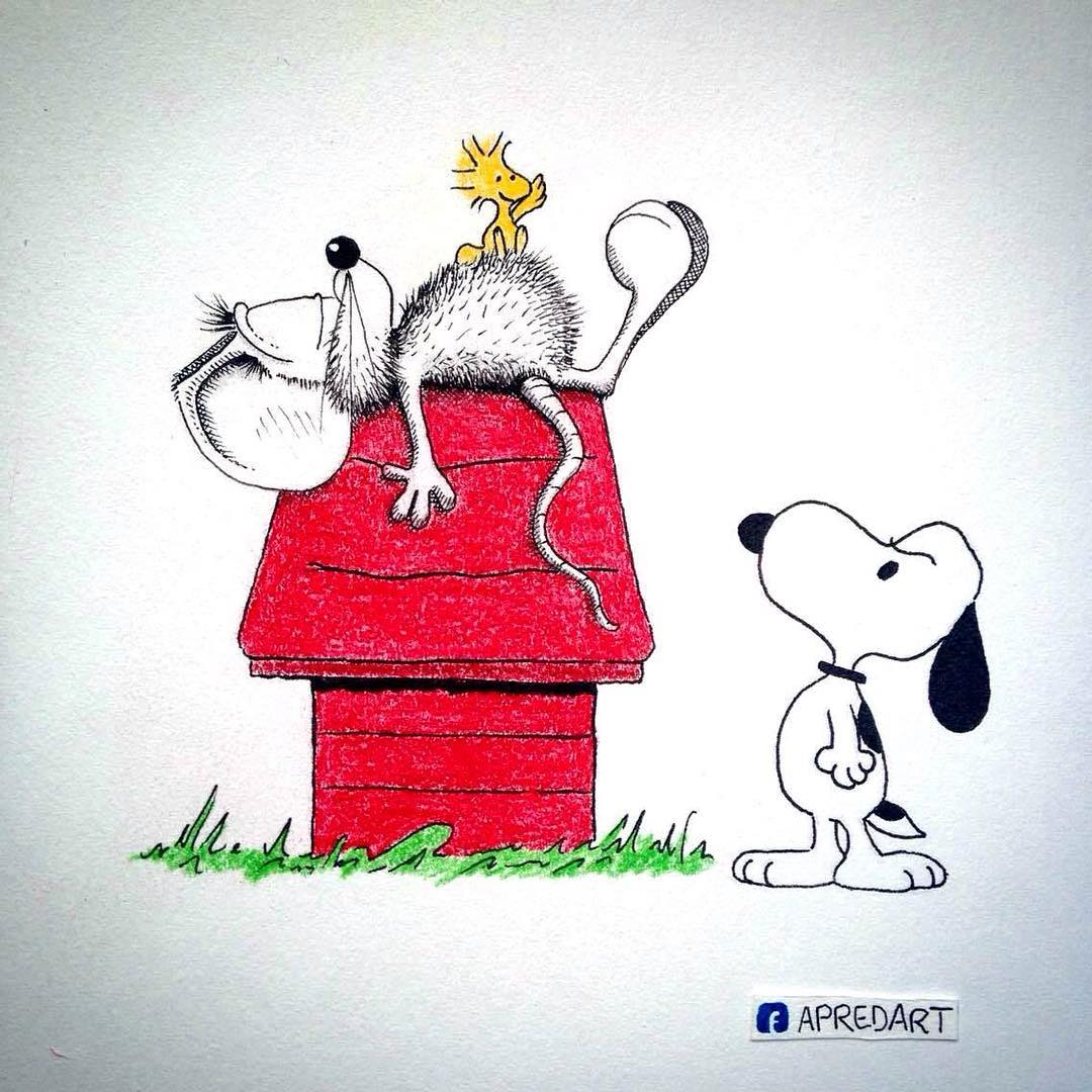 03-Snoopy-and-Woodstock-Peanuts-Loïc-Apreda-apredart-Drawings-of-Rikiki-the-Mouse-and-his-Famous-Friends-www-designstack-co