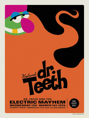 "The Muppets Dr. Teeth and the Electric Mayhem Retro Concert Poster Screen Print Series by Michael De Pippo - ""Dr. Teeth: Keyboard"""