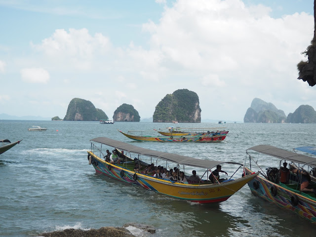 Longtail boats at James Bond Island, Phang Nga Bay, Phuket, Thailand