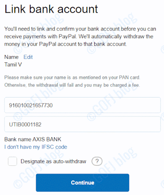 Linking PayPal India account to bank account