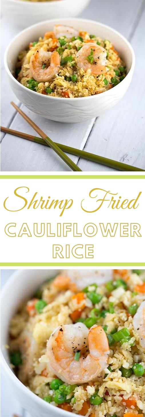 Shrimp Fried Cauliflower Rice Bowl #vegetarian #bowl