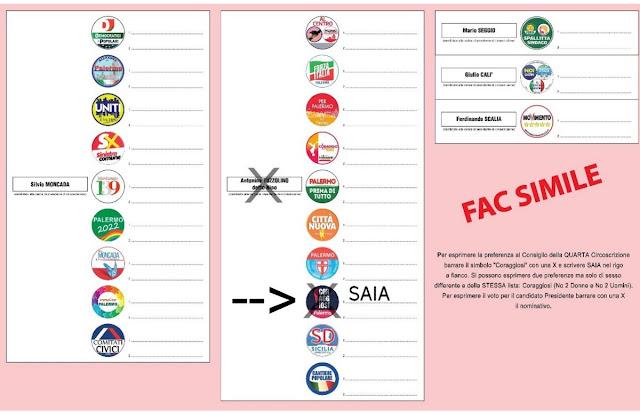 il fac-simile della scheda elettore per il voto al Consiglio della IV Circoscrizione