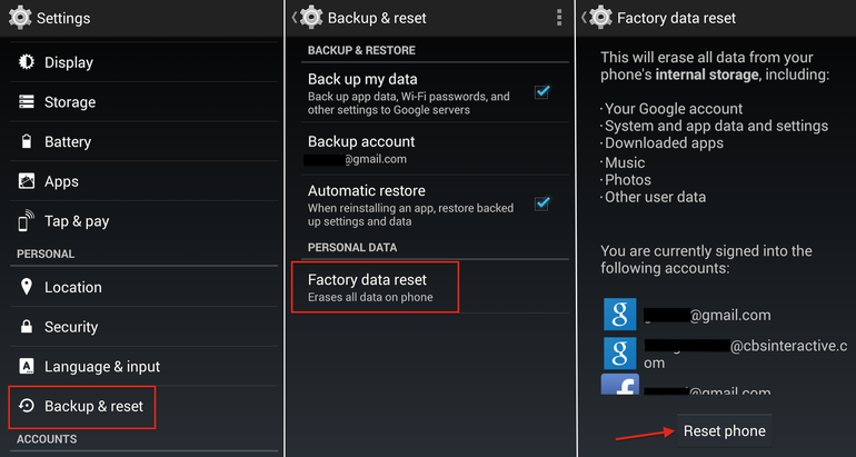Hard Reset (Factory Reset) LG E976 Optimus G 4G LTE using menu