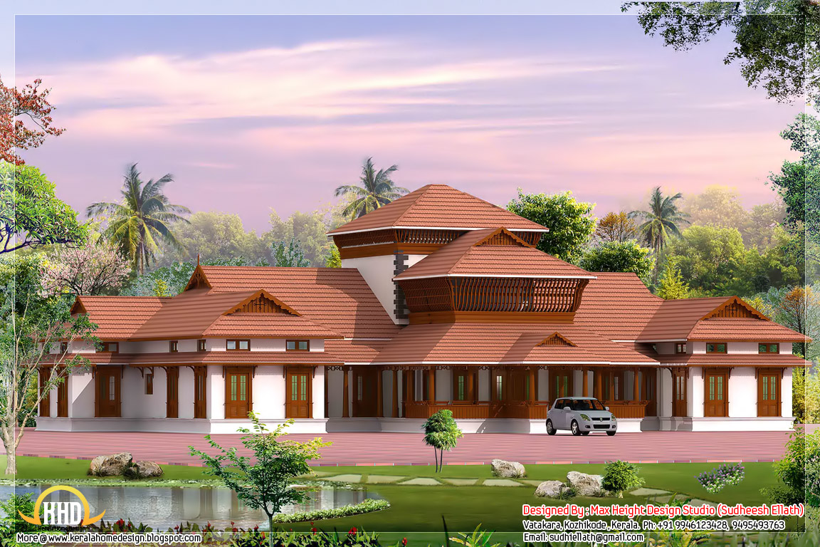 Four india style house designs kerala home design and for Kerala traditional home plans with photos