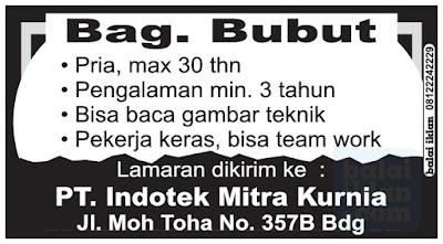 Lowongan Kerja PT. Indotek Bandung