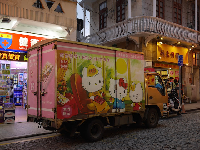 Koi Kei bakery delivery truck with Hello Kitty mooncake design in Macau