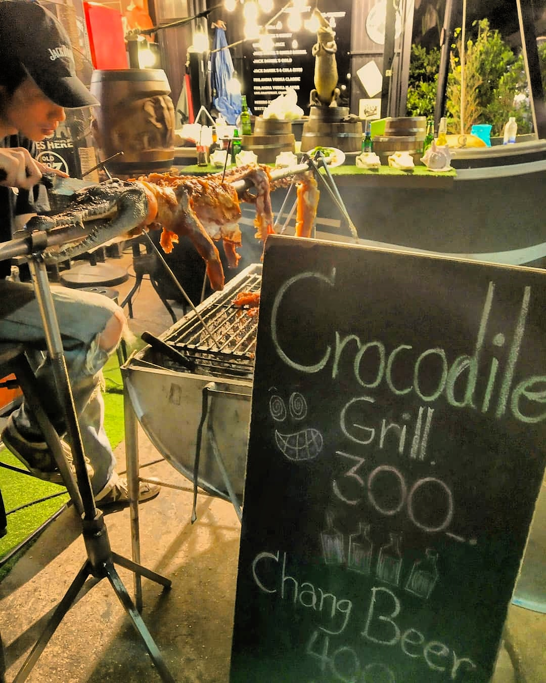 Grilled crocodile meat in Bangkok, Thailand