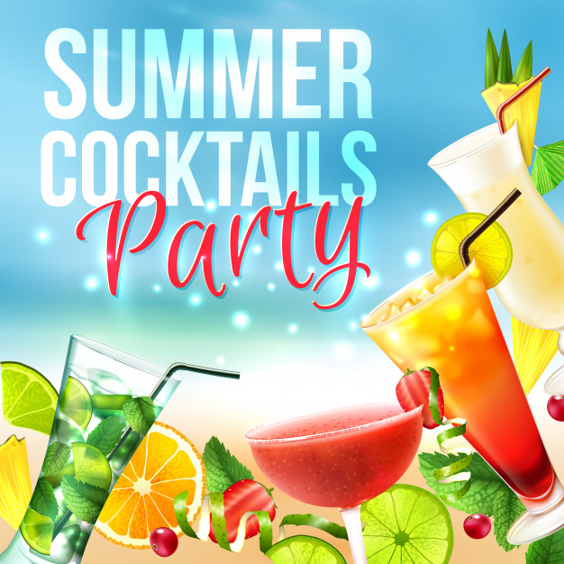 Cocktail party poster Free Vector
