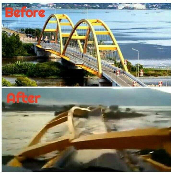 Inilah Bentuk Jembatan Ponulele Sebelum dan Sesudah Gempa Palu