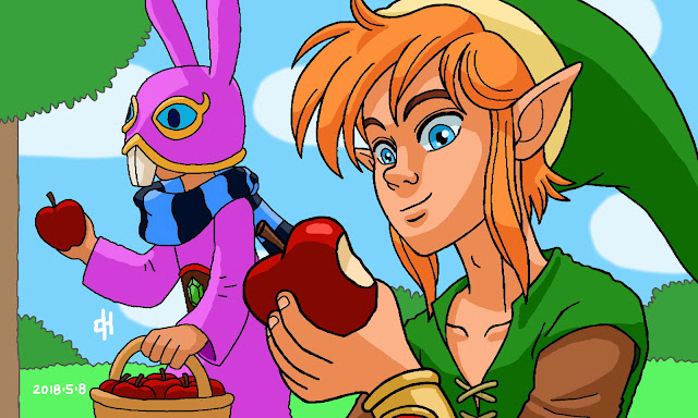 Link and Ravio pick up apples
