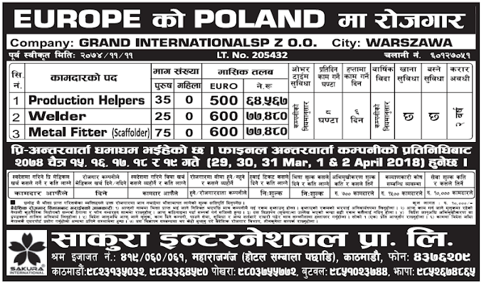 Jobs in Poland for Nepali, Salary Rs 77,480
