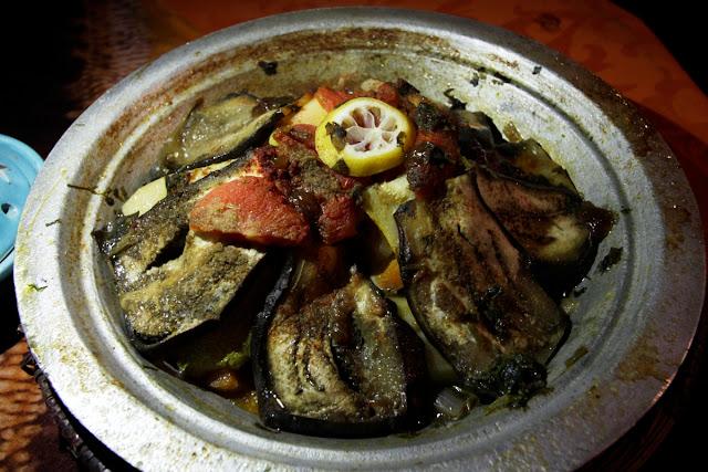 Tajine de ternera en la cena del Auberge Café du sud