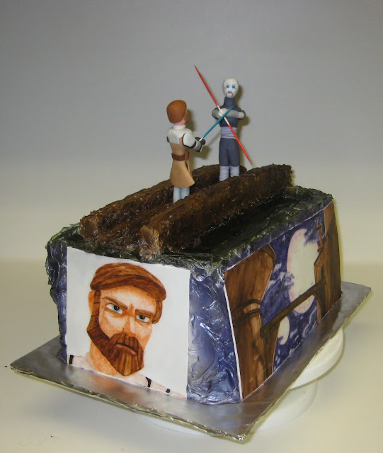 Star Wars: The Clone Wars Themed Cake - Obi-Wan Kenobi and Asajj Ventress Duel - Angled View 2