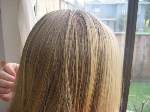Cheveux blonds gras