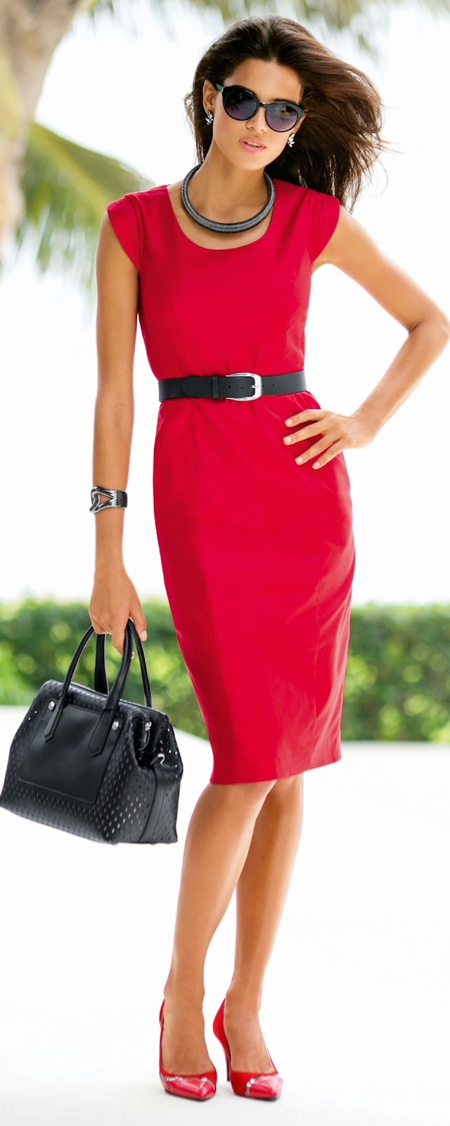 MADELEINE Red Sheath Dress