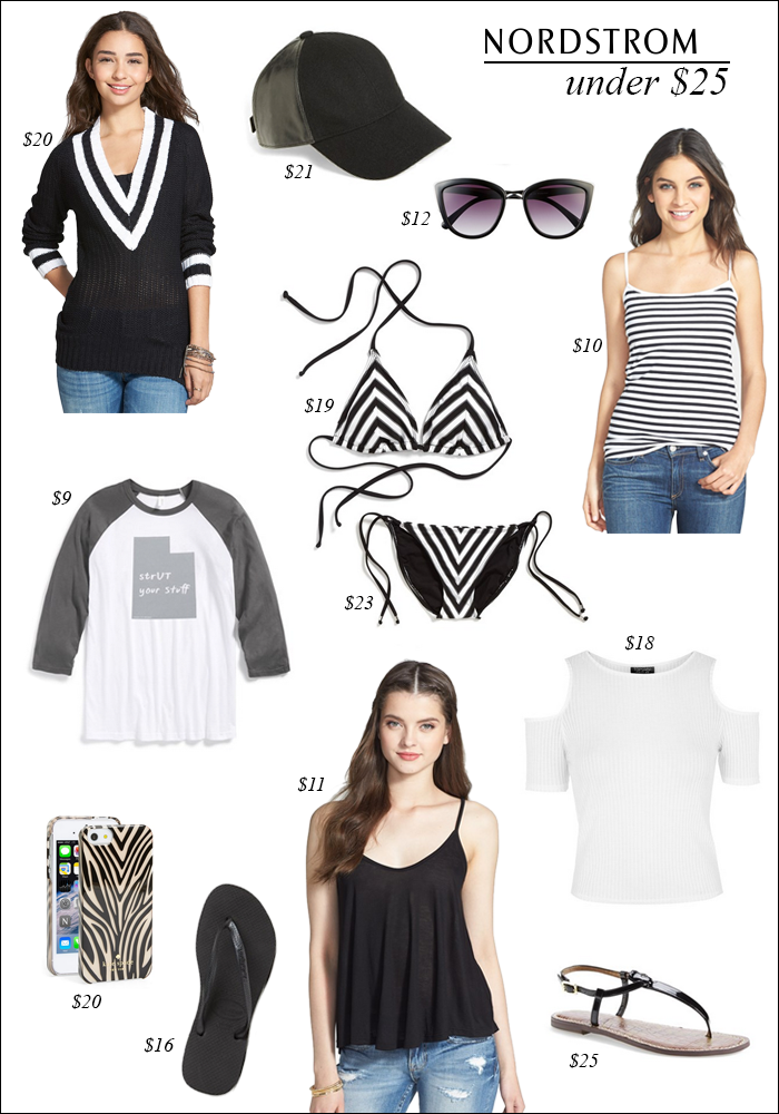 clothes under $25, nordstrom, free shipping, black and white clothes, spring trends, great deals on spring clothes