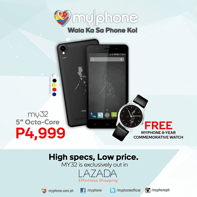 MyPhone My32 Now Available At Lazada For 4999 Pesos! Comes With 13 MP Samsung Lens And 2 GB RAM!
