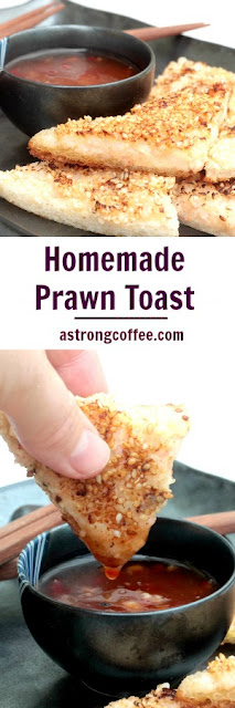 Easy to make prawn toasts, made healthier by using less oil.