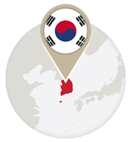 South Korean flag and map