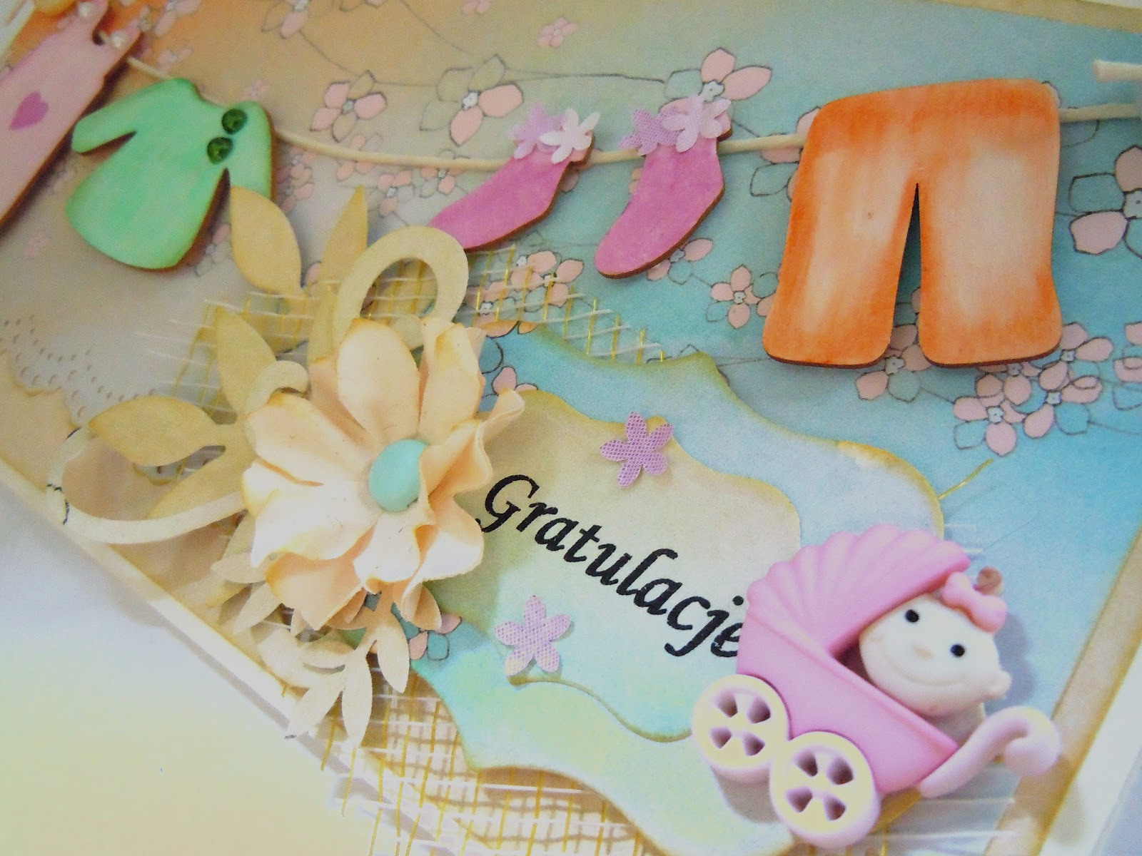 kartka handmade z okazji narodzin dziecka