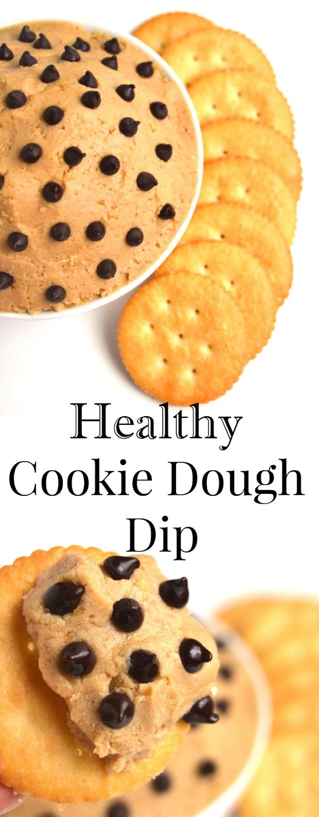 Healthy Cookie Dough Dip has just 5 ingredients and takes 5 minutes to make. A much healthier cookie dough option the whole family will love that is made with a secret ingredient- chickpeas! www.nutritionistreviews.com