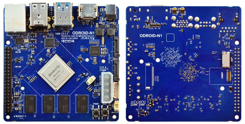 nanoCPU: ODROID-N1 una PCB con SoC RK3399
