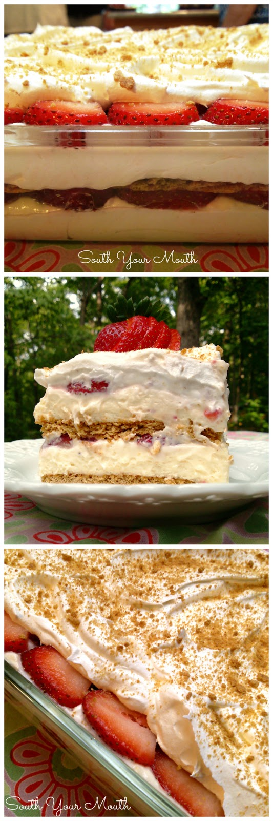 Strawberry Cream Cheese Icebox Cake! An easy no-bake layered dessert with graham crackers, cheesecake filling and fresh strawberries. #dessert #strawberries #icebox