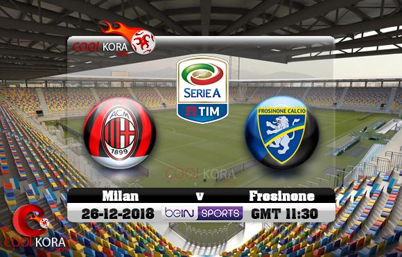 مشاهدة مباراة فروسينوني وميلان اليوم 26-12-2018 في الدوري الإيطالي