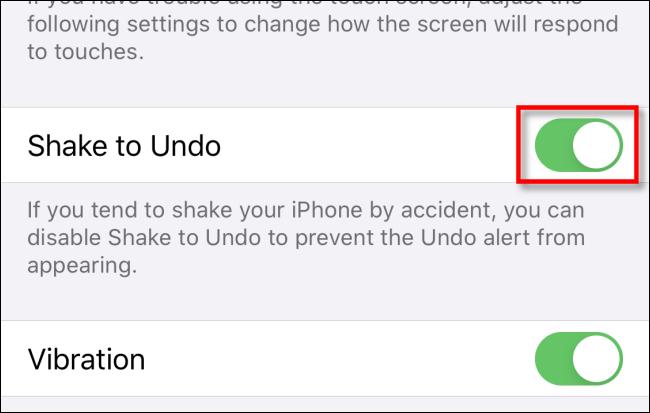Impostazione agita per annullare iphone ipad