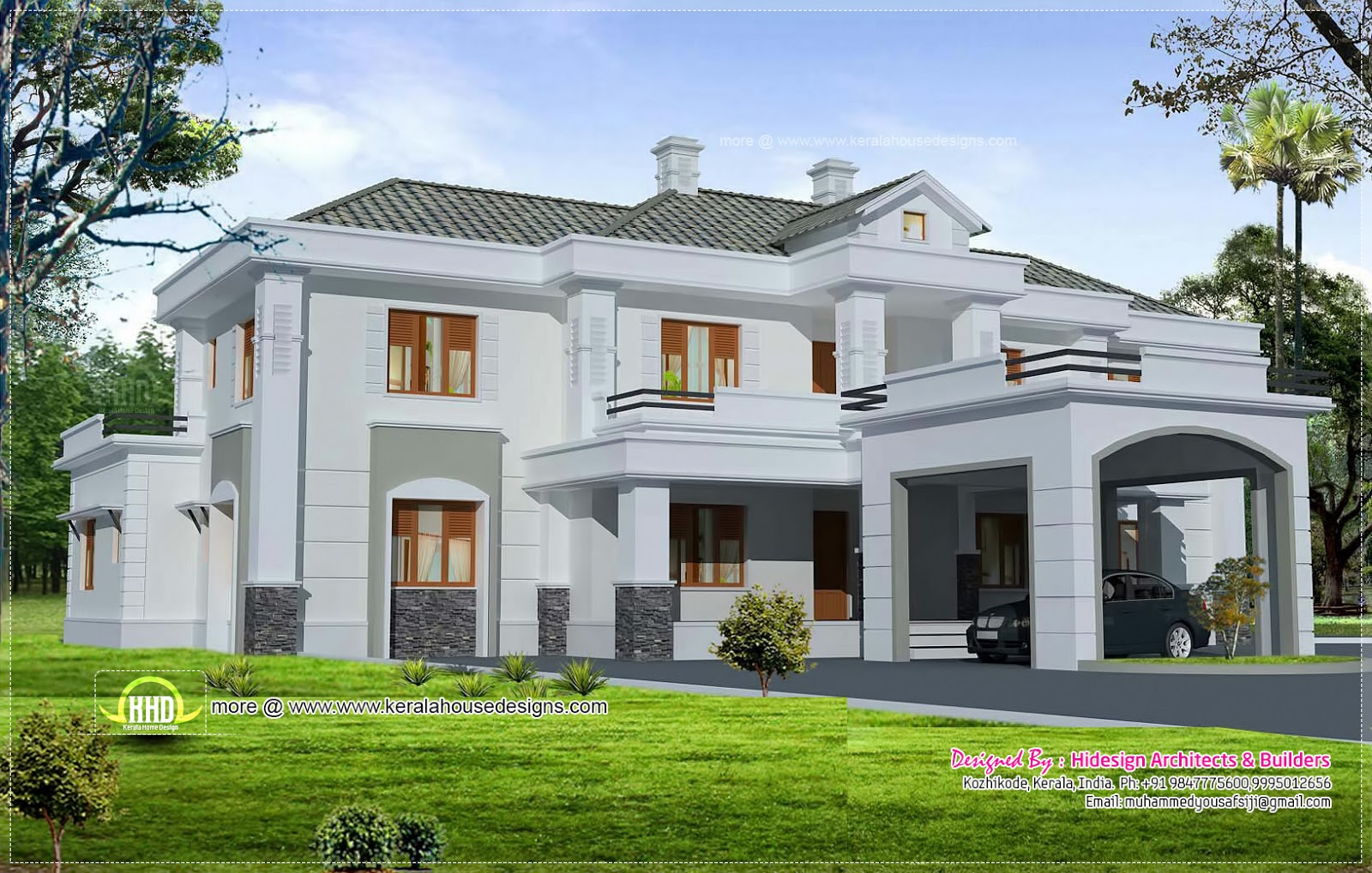 Luxury colonial style home design with court yard kerala for Colonial style home design in kerala