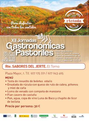 MENÚ ESPECIAL: XII Jornadas Gastronómicas Pastoriles en el Valle del Jerte