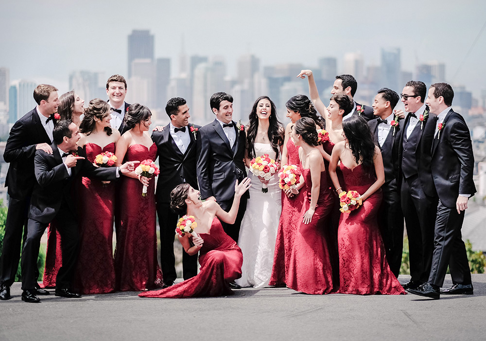 wedding party with city view background