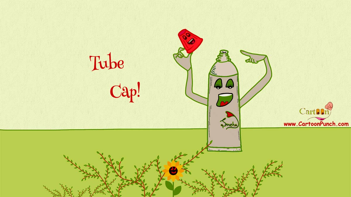 Toothpaste Tube Cap cartoon illustration by sneha: A happy tooth paste tube is showing its cap with pride