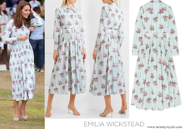 Kate Middleton wore EMILIA WICKSTEAD Aurora belted floral-print Swiss-dot cotton-blend seersucker dress