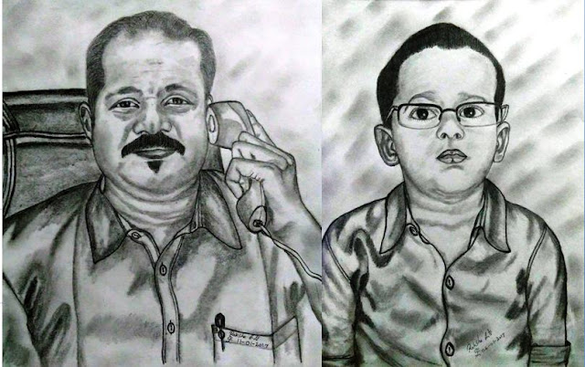 PENCIL DRAWING  - FATHER & SON