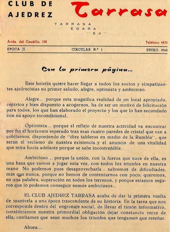 Boletin del Club d'Escacs Terrassa, enero de 1960