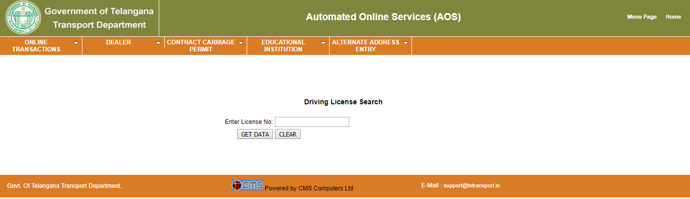 Telangana Transport Driving License Search