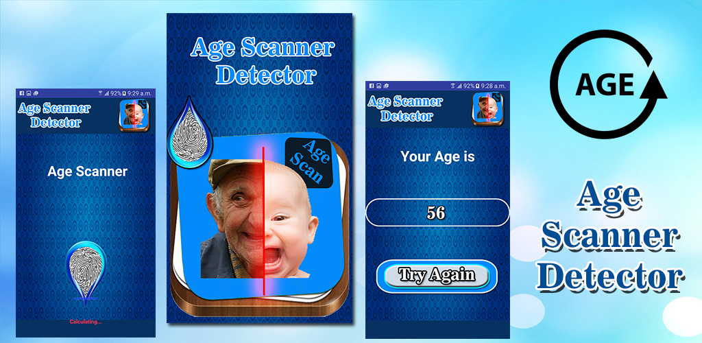 Age calculator by finger print age detector and scanner