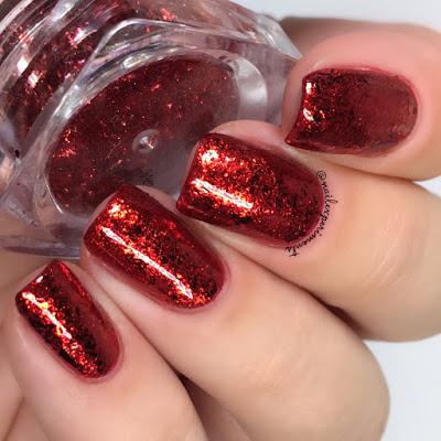 nail stuff red metallic flakes review