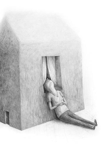 "Stefan Zsaitsits, ""Haus im Nebel"", Graphit auf Karton, 2018 | pictures, deep feelings, sad, emotional, art black and white | imagenes tristes chidas, emociones y sentimientos, depresión, obras de arte contemporaneo, dibujos a lapiz"