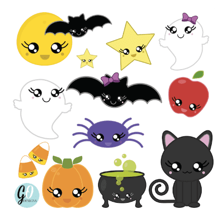 Cute kawaii Halloween clipart: Spider, jack-o-lantern, ghost, bat, black cat, candy, moon and more! #gradeonederful #halloween #clipart #halloweenclipart #kawaiiclipart