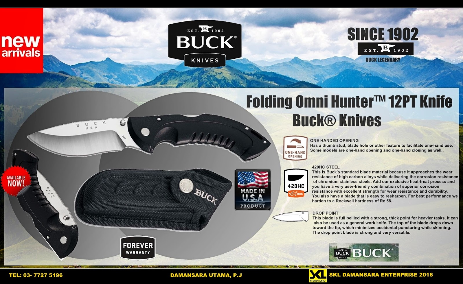 Buck Omni Hunter 12pt Folding Knife now available @ RM 590