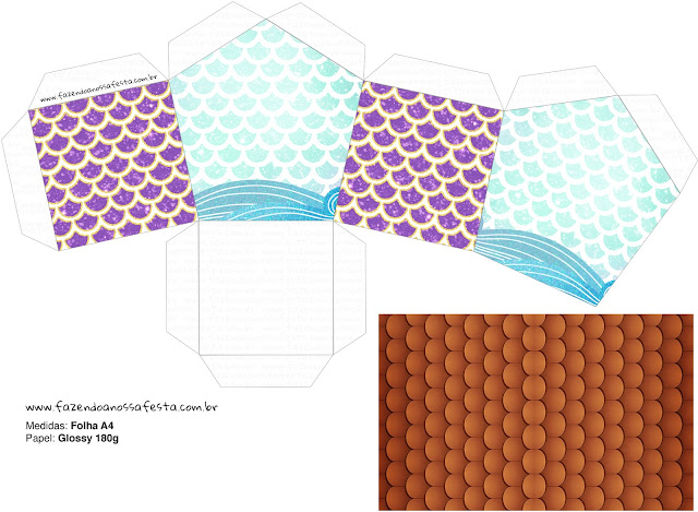 Sirenas: Caja con Forma de Casa para Imprimir Gratis.